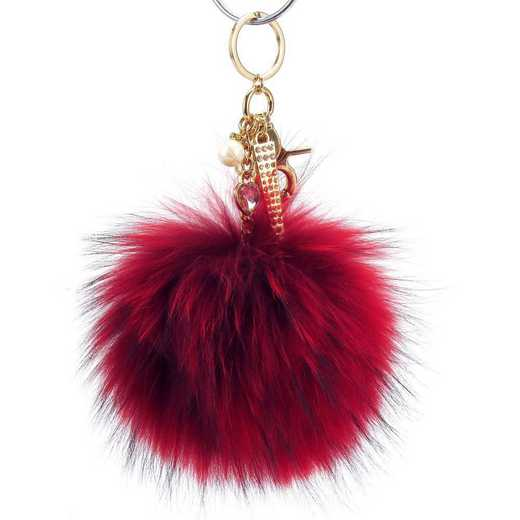 H160426-12-RR-G: Pom Pom Fur Ball Keychain Accessory Bag Dangle in Racing Red