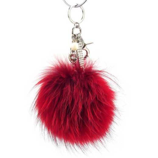 H160426-12-RR-S: Pom Pom Fur Ball Keychain Accessory Bag Dangle in Racing Red