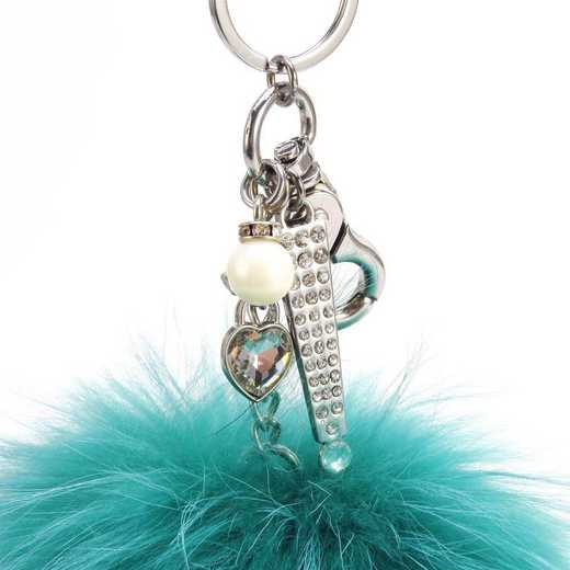 H160426-12-TUR-S: Pom Pom Fur Ball Keychain Accessory Bag Dangle in Turquoise