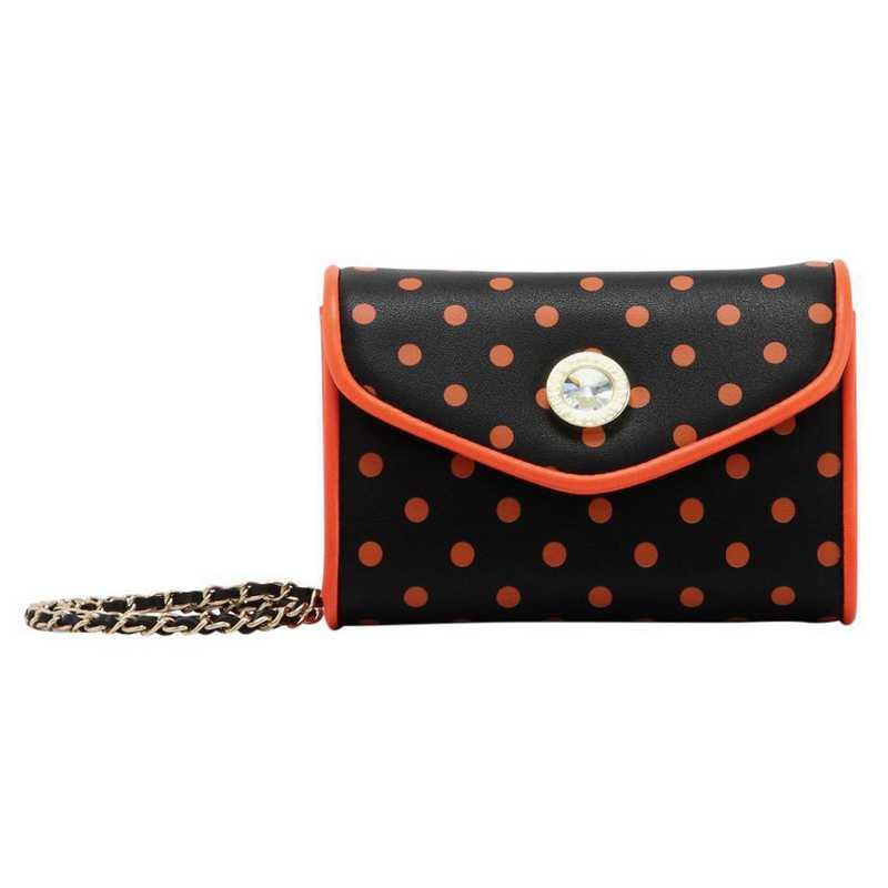 H150330-11-BLK-OR: Eva Clutch Handbag  BLK/OR