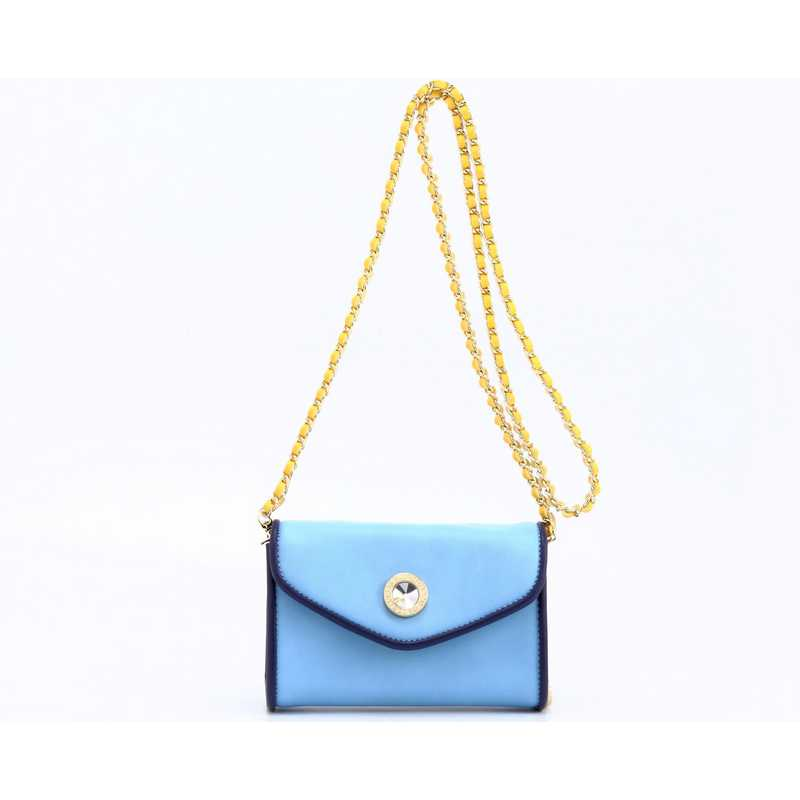 H150330-11-LTBLU-NBLU-YGO: Eva Clutch Handbag   LTBLU-NBLU-YGO