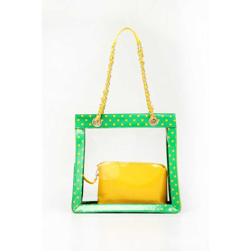 H150330-17-FRNGR-YGO: Andrea Clear Tailgate Tote FRNGR-YGO
