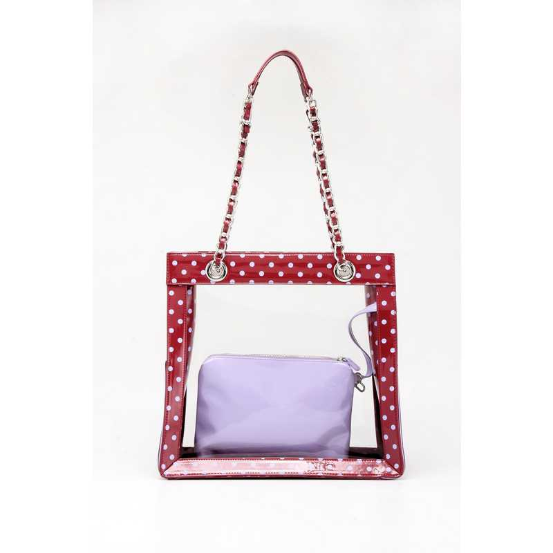 H150330-17-M-LVN: Andrea Clear Tailgate Tote M-LVN