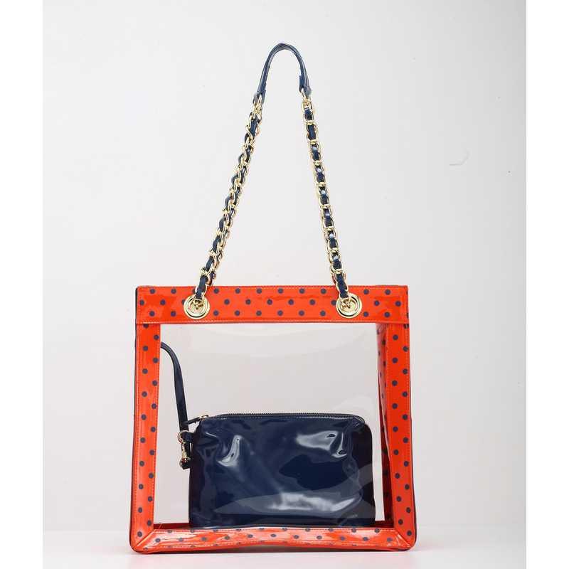 H150330-11-OR-NBLU: Eva Clutch Handbag  OR/NBLU