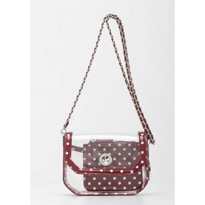casual shoes super popular another chance Clear Stadium Shoulder Bag Maroon & White Chrissy Small by SCORE! The  Official Game Day Bag