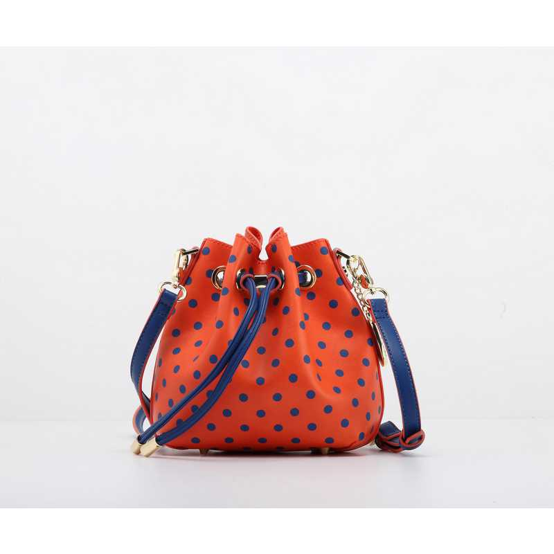 H150330-13-OR-NBLU: Sarah Jean Small Polka Dot--OR-NBLU