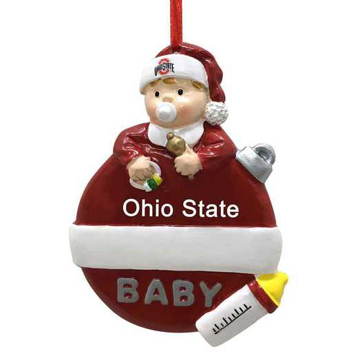 BFO021: Ohio State BUCKEYES 2.5IN X 3.25IN BABYS  FIRST XMAS orn