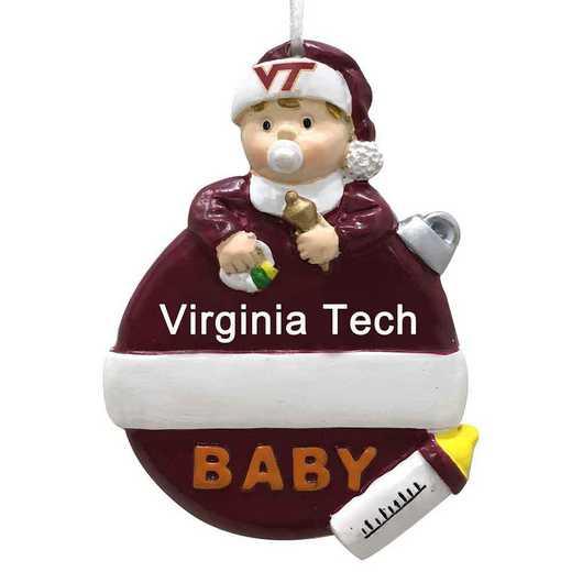 BFO062: Virginia TechHOKIES 2.5IN X 3.25IN BABYS  FIRST XMAS orn