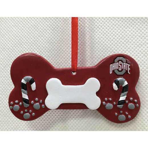 DBO021: Ohio State BUCKEYES 3.2IN X 2IN DOG BONE  orn