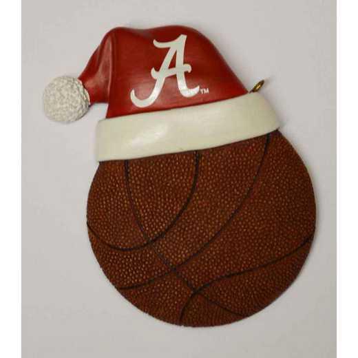 SHO001B: Alabama 3.5IN SANTA HAT W/BASKETBALL ORN.