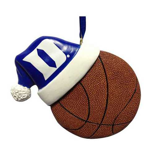 SHO006B: Duke 3.5IN SANTA HAT W/BASKETBALL ORN.
