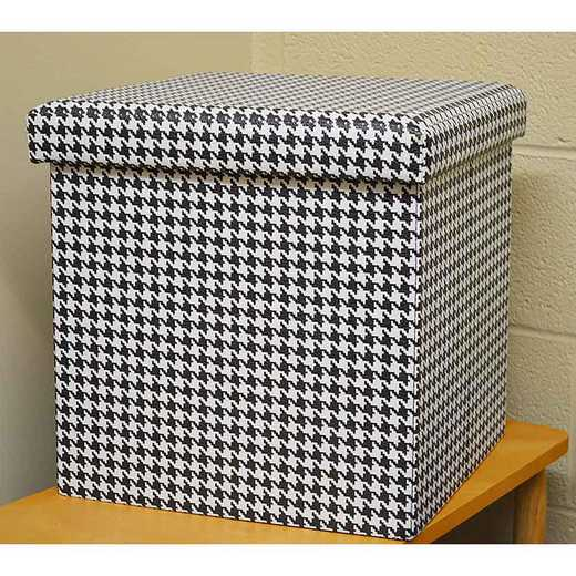 OTSHOU: HOUNDSTOOTH SMALL STORAGE OTTOMAN