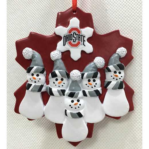 FFO021: OHIO STATE BUCKEYES FAMILY FIVE SNOWMAN   ORNAMENT