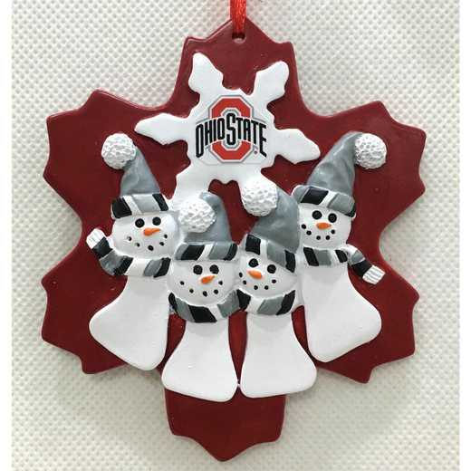 FQO021: OHIO STATE BUCKEYES FAMILY QUAD SNOWMAN   ORNAMENT