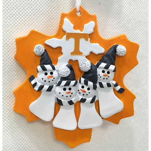 FQO026: TENNESSEE VOLUNTEERS FAMILY QUAD SNOWMAN   ORNAMENT