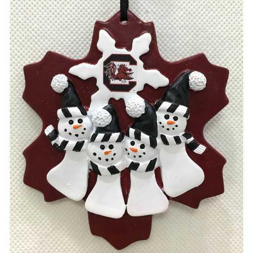 FQO053: SOUTHCAROLINA GAMECOCKS FAMILY QUAD SNOWMAN   ORNAMENT