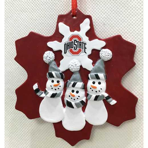 FTO021: OHIO STATE BUCKEYES 4.2IN X4.2IN TRIPLE SNOWMAN   ORNAMENT