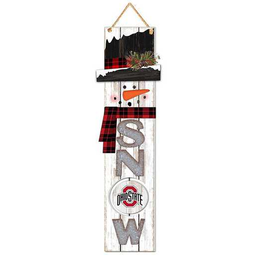 WSS021: OHIO STATE BUCKEYES 11IN X 41.25IN MDF WALL  SNOWMAN SIGN