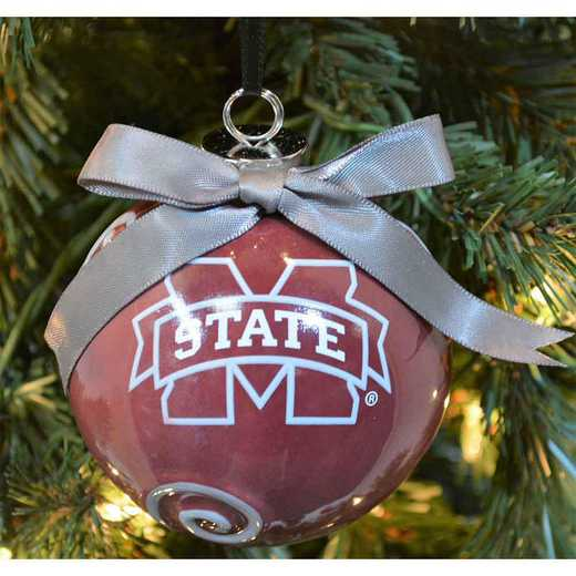 CBO016: MISSISSIPPI STATE BULLDOGS 3.5IN CERAMIC LOGO ORNAMENT