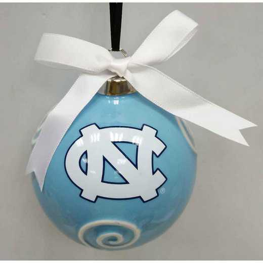 CBO019: NORTHCAROLINA TAR HEELS 3.5IN CERAMIC LOGO ORNAMENT