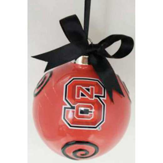 CBO020: NC STATE WOLFPACK 3.5IN CERAMIC LOGO ORNAMENT