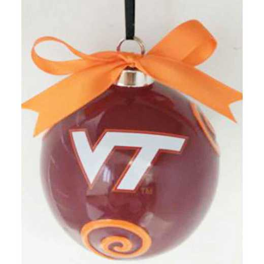 CBO062: VIRGINIA TECHHOKIES 3.5IN CERAMIC LOGO ORNAMENT