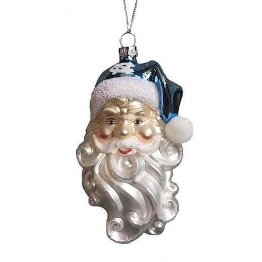 SGO019: UNC 6IN SANTA GLASS ORNAMENT