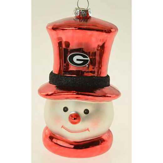 SMG009: GEORGIA 6IN SNOWMAN GLASS ORNAMENT