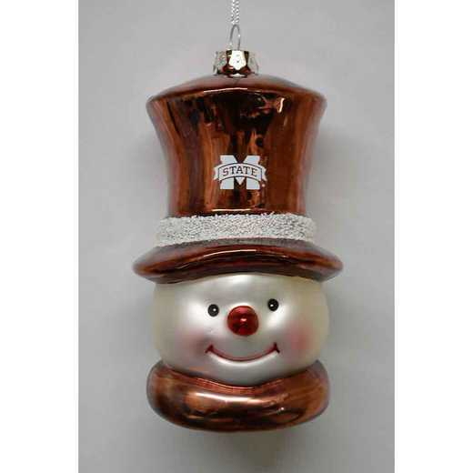 SMG016: MISS. ST. 6IN SNOWMAN GLASS ORNAMENT