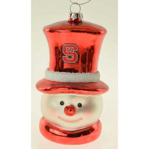 SMG020: NC STATE 6IN SNOWMAN GLASS ORNAMENT