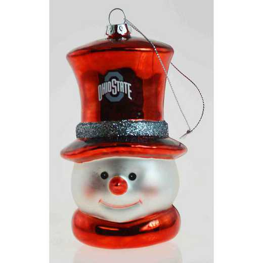 SMG021: OHIO STATE 6IN SNOWMAN GLASS ORNAMENT