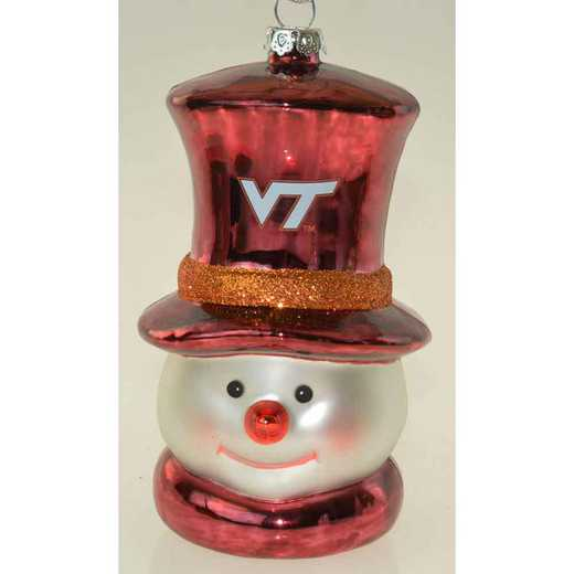 SMG062: VIRGINIA TECH6IN SNOWMAN GLASS ORNAMENT