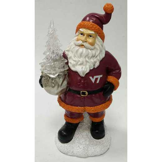 SWT062: VIRGINIA TECHHOKIES 9.5IN RESIN SANTA W/LED TREE FIGURE
