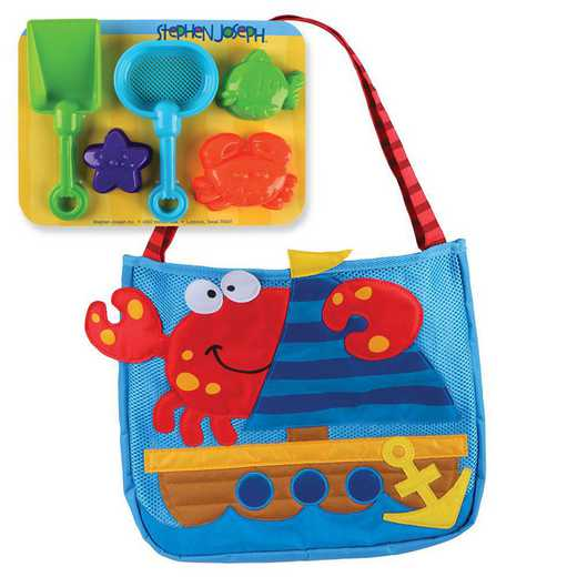 SJ100330A: SJ  BEACH TOTES (w/sand toy play set) CRAB