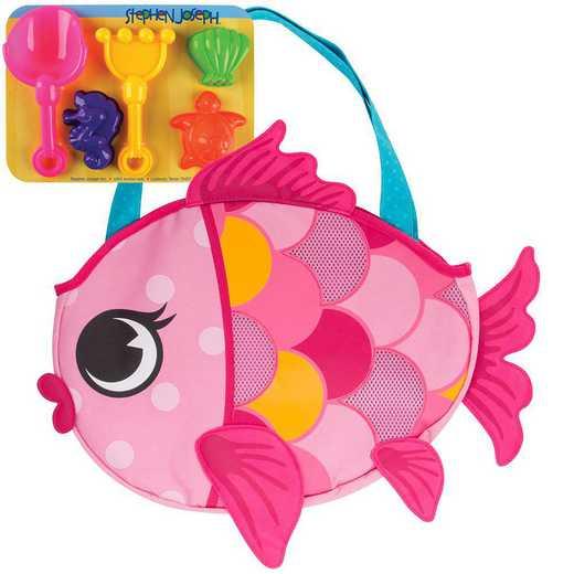 SJ100340B: SJ  BEACH TOTES (w/sand toy play set)  FISH