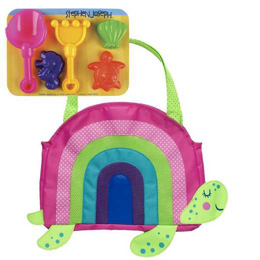 SJ100390A: SJ  BEACH TOTES (w/sand toy play set)  RAINBOW TURTLE