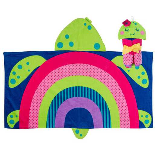SJ100490A: SJ HOODED TOWEL  RAINBOW TURTLE (S19)