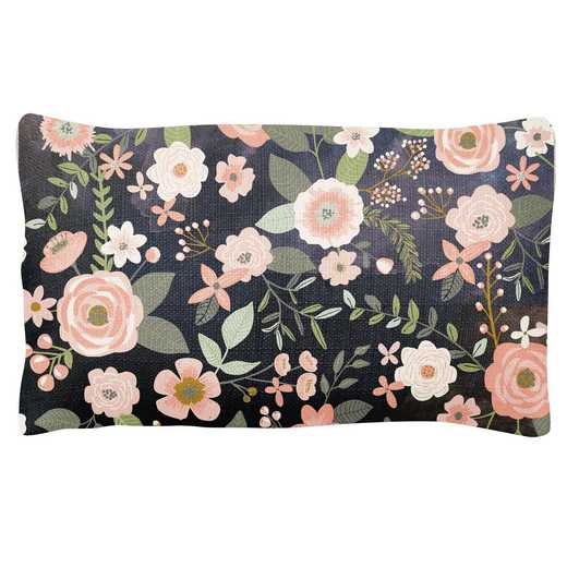 KA302138: Karma LUMBAR PILLOW CHARCOAL FLOWER (F18)