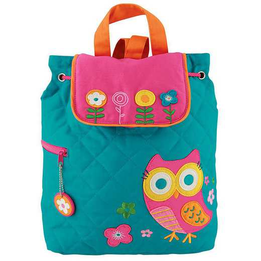 SJ100176A: SJ  Quilted Backpack OWL-TEAL