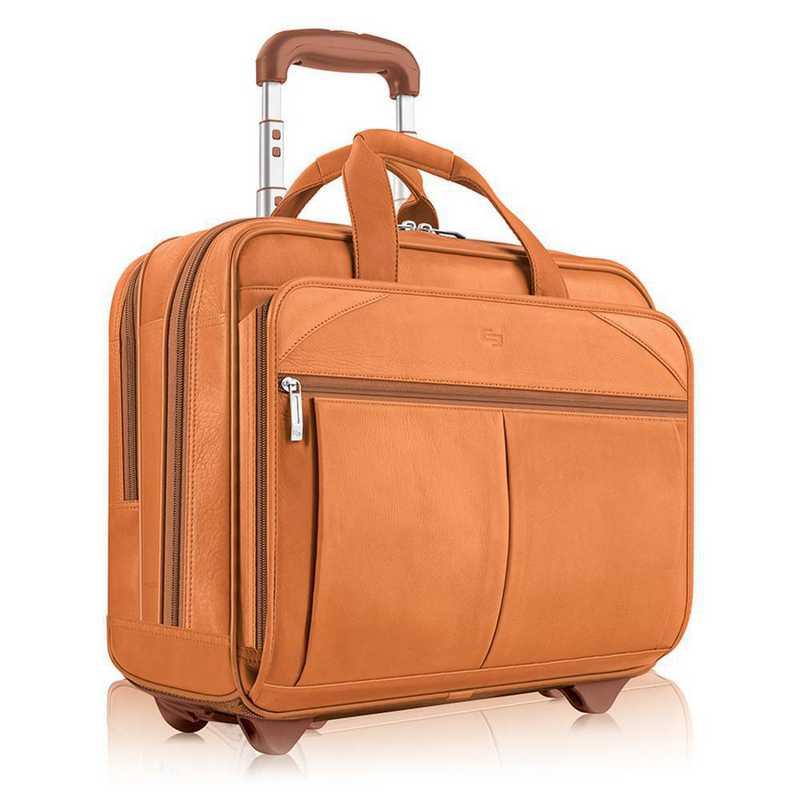 D529-1: Solo Walker Leather Rolling Case- Tan