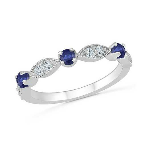 Sterling Silver Created Blue Sapphire and White Sapphire Band Ring