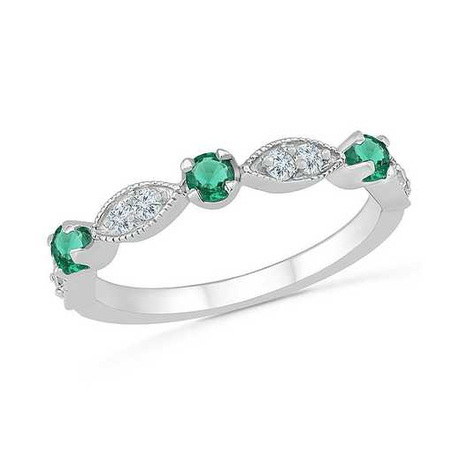 Sterling Silver Created Emerald and White Sapphire Band Ring