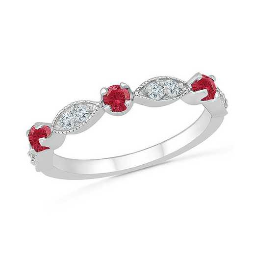 Sterling Silver Created Ruby and White Sapphire Band Ring