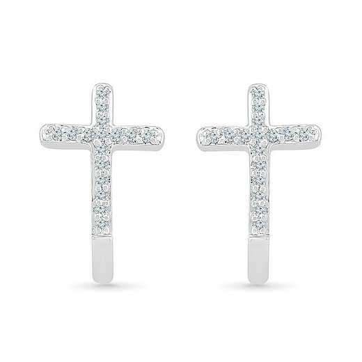 EC206935BAW: STERLING SILVER WITH 1/10CTTW DIAMOND CROSS EARRING