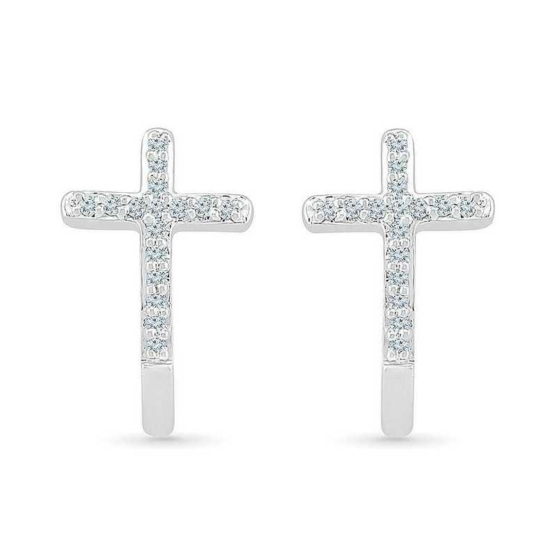 EC206935BAW: STERLING SILVER WITH 1/10CTTW DIAMOND CROSS EARRING