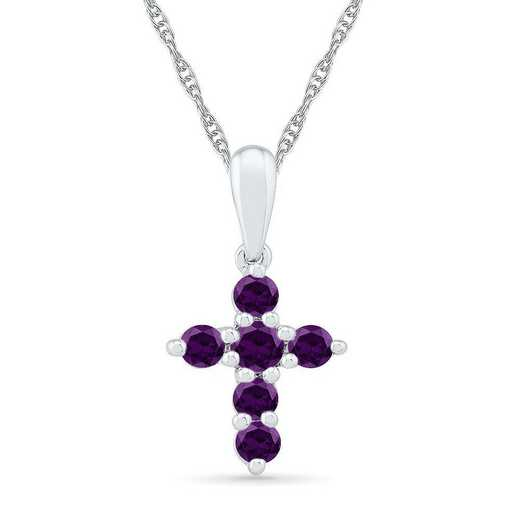 PC200868ZAW AME: BSTONE CROSS Pend AMETHYST  DIA Accent