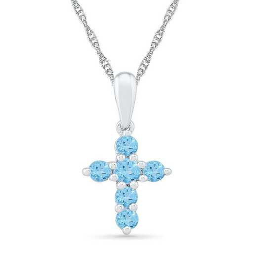 PC200868ZAW BT: SS BSTONE CROSS Pend BLUE TOPAZ  DIA Accent
