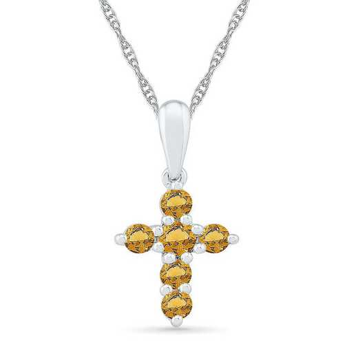 PC200868ZAW CIT: BSTONE CROSS Pend CITRINE  DIA Accent