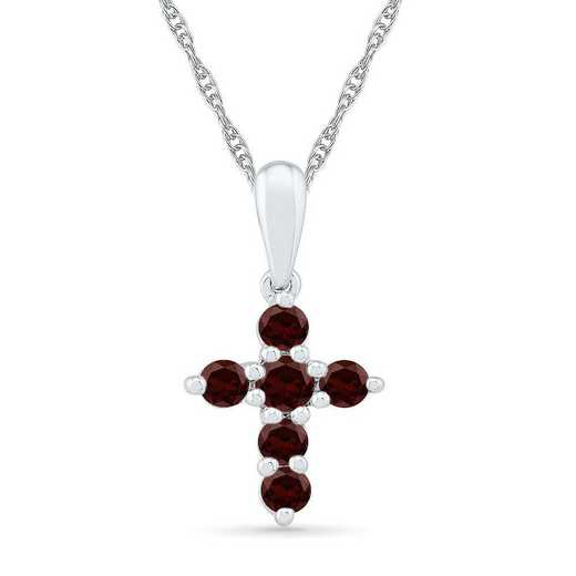 PC200868ZAW GAR: SS BSTONE CROSS Pend GARNET  DIA Accent