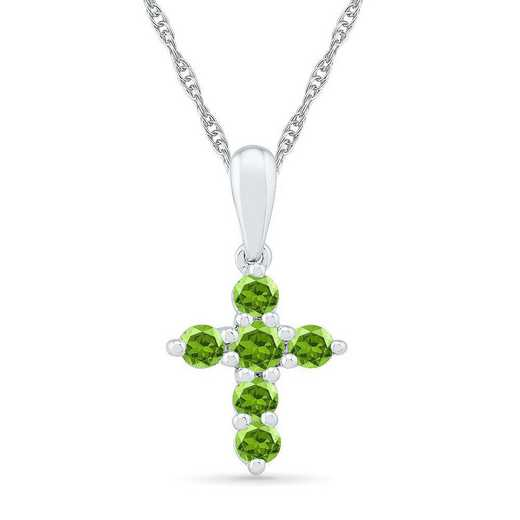 PC200868ZAW PER: BSTONE CROSS Pend PERIDOT  DIA Accent